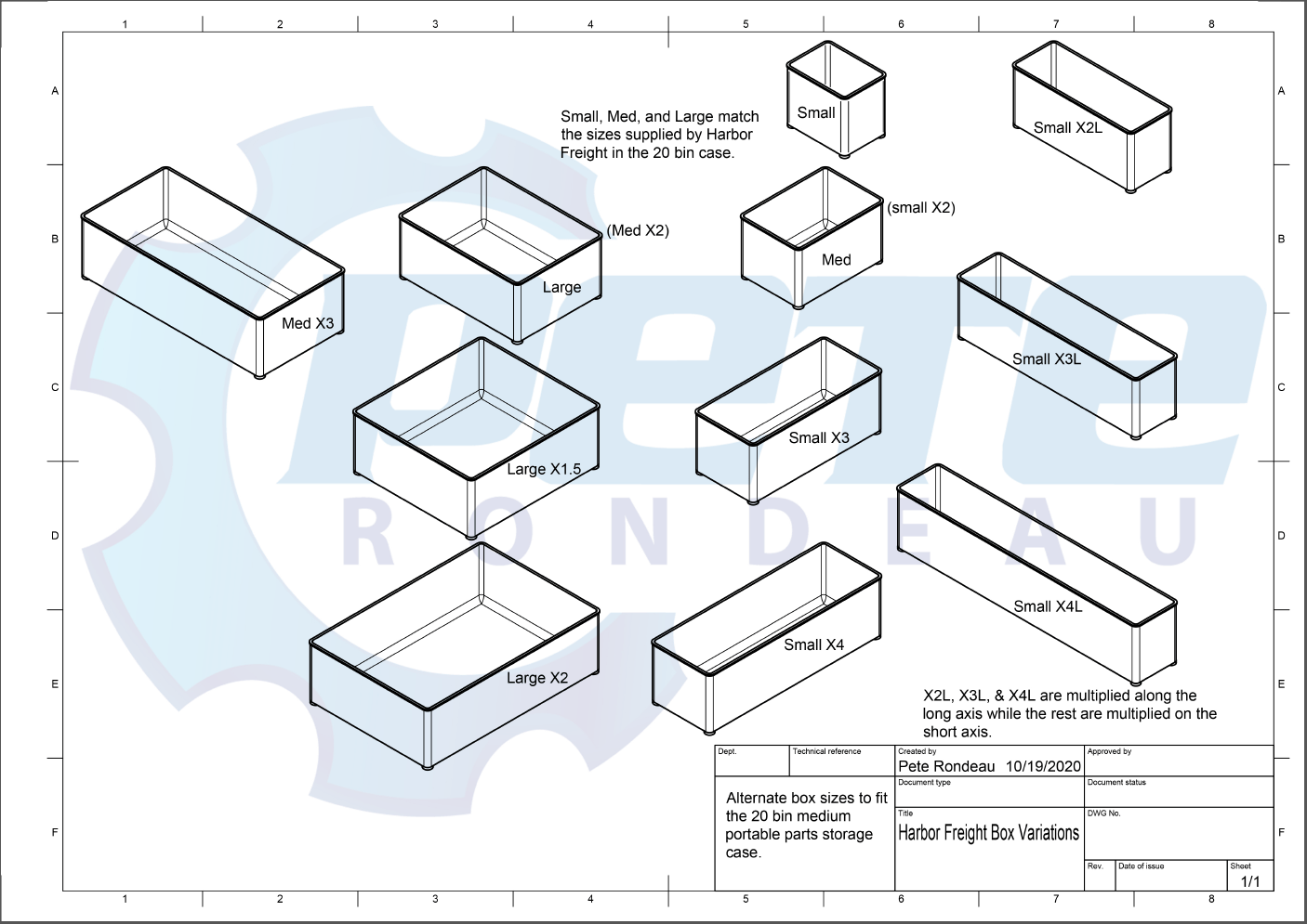 Blueprint of available bine sizes